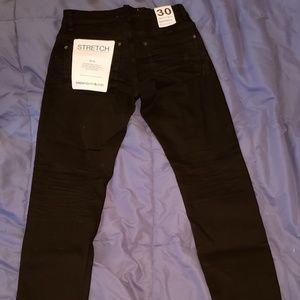 Paper denim & cloth mens black straight leg